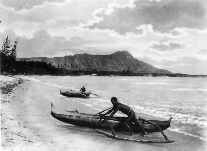old Hawaiian canoes at Diamond Head